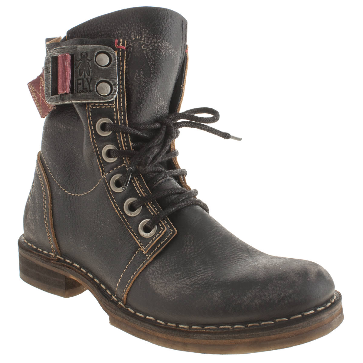 fly nay womens navy leather casual ankle boots