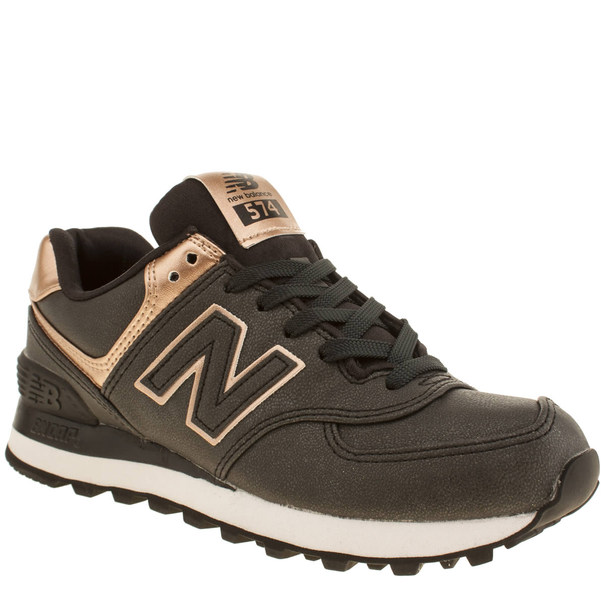 new balance 574 womens black gold man made trainers ebay. Black Bedroom Furniture Sets. Home Design Ideas